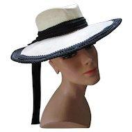 Vintage White Straw and Black Trim Wide Brim Hat Designer Protection Label