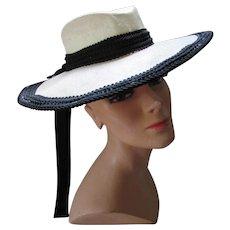 Vintage White Straw and Black Trim Wide Brim Hat Designer Protection Label