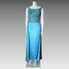 Mike Benet Formal Evening Dress in Turquoise Satin and Iridescent Green and Silver Sequins