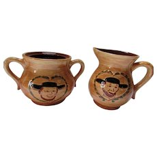 Pennsbury Pottery Creamer & Sugar Amish Pa Dutch Pattern