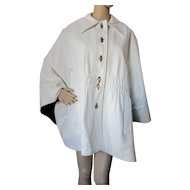 White Cape in Leather Look with Gold Turn Lock Buttons by Jole't Original size 12