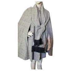 1970 Era Fall Winter Cape in Green Plaid Country Place with Long Fringed Scarf Forest Green Fleece Lining