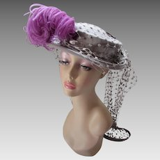 Amazing Hat in Dove Gray Felt with Jaunty Purple Feather and Long Flocked Net Tails by Dale New York Simpson's Madison