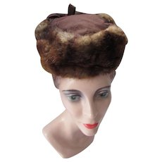 Mid Century Hat in Chestnut Brown Fur and Chocolate Felt by Carolyn Hats Madison Wisc