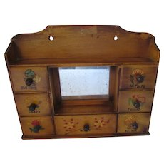 Wood Sewing Box Seven Drawers Hand Decorated