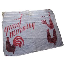 Set of Four Rooster Chicken Good Morning Table Mats in Black and Red Brand W by Hand