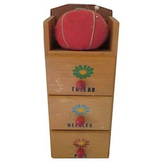 Wood Sewing Box Three Drawer Tomato Pin Cushion