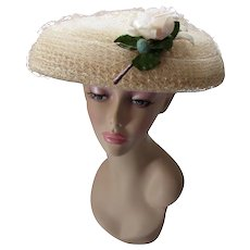Mid Century Mushroom Hat with Pink Rose in Cream Tone Millinery Cellophane and Net by Vogue Mont Chicago New York