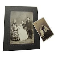 Pair Victorian Era Children Sepia Photographs in Fashions of the Time
