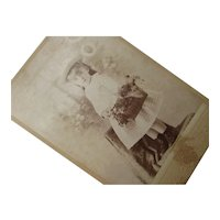 1889 Sepia Photograph Little Girl & Flower Basket