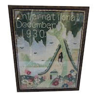 Embroidered Cottage Style Wall Hanging International Magazine December 1930