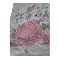 Sweet Applique Sunbonnet Girl Bedspread Pink and Blue Calico