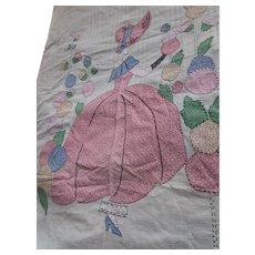 Sweet Applique Sunbonnet Girl Bedspread Pink and Blue Calico