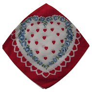 Vintage Valentine Handkerchief Heart Decorated Hankie Red Heats Blue Flowers Valentine Day Gift Free Shipping USA