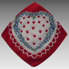 Vintage Valentine Handkerchief Heart Decorated Hankie Red Heats Blue Flowers Valentine Day Gift Free Shipping USA