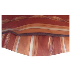 Vintage Fabric Chair Cushion Cover in Rust and Terra Cotta Stripe for Cushion or Salvage Fabric
