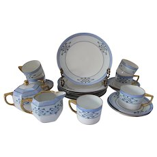 Tea Luncheon or Dessert Set Shades of Blue Hand Painted Bavaria Stouffer Studio China