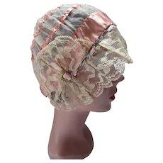1920 Era Boudoir Cap Peach Ribbon Cream Lace Rosette