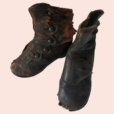 Two Child's Victorian Era High Top Button Up Leather Shoes for Display