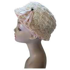 Cloche or Lampshade Style Hat in White Lace with Pink Accents