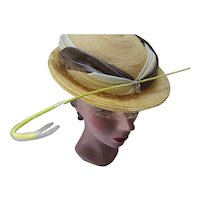 Fanciful Mid Century Straw Hat with Satin Bands and Curved Quill