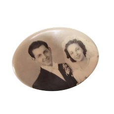 Wedding Memento Pocket Mirror  Bridal Portrait 1930's