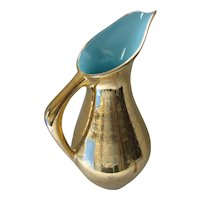 Mid Century Ewer Pitcher Crackle Pottery Gold Turquoise Foster Brand