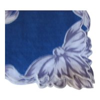 Handkerchief Soldier Blue with Gray & white Twisted Ribbons