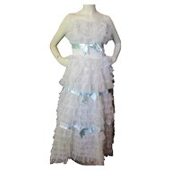Absolute Confection of a Prom or Dance Dress 1960 Era in White Lace Flounces and Blue Ribbon Size Small:1960 Era