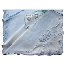 Hand Embroidered Linen Tea Napkins Lysand Linens Made in Azores Portugal Set of Four Original Box