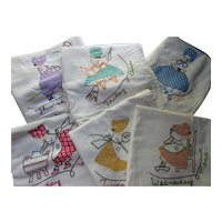 Days of the Week Kitchen Towels Sunbonnet Girls Applique & Embroidery