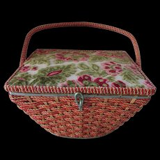 Vintage J C Penney Sewing Basket with Flower Tapestry Top and Woven Body Bright Green Interior