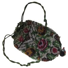 Purse Doll Size Beaded Drawstring Pouch