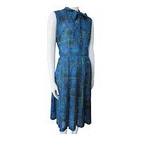 Sweet 1960 Era Summer Dress Blue Green Jane Hunter