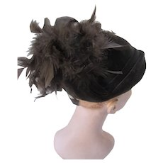 Stylish Deep Brown Hat in Velvet Jaunty Feathers Connor Made in England