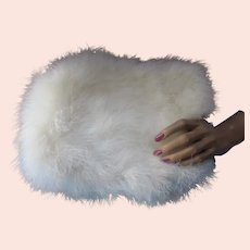 Snow White Winter Rabbit Fur Muff For Fashion or Wedding