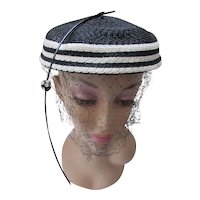 Smart Topper in Black White Stripe Jaunty Rhinestone Stem