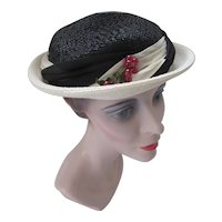 Sweet Straw Topper Hat in Black & Cream Red Berries