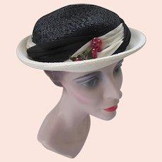 Sweet Straw Topper Hat in Black & Cream Red Berries