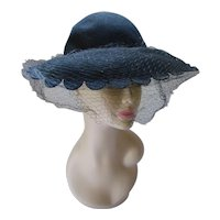 Black Felt Hat Wide Scallop Edge Brim Merrimac