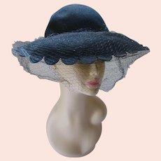 Black Felt Hat Wide Scallop Edge Brim Merrimac
