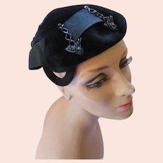 Black Velvet & Ribbon Topper Desi Original Made in France