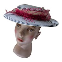 Sailor Style Hat in Navy & White Concentric Stripes Red Ribbon Patricia Hats Killian Company Mid Century