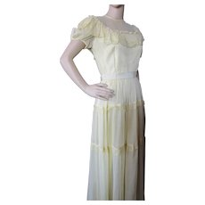 Mid Century Summer Long Gown Sunny Yellow Nylon Prom Garden Party
