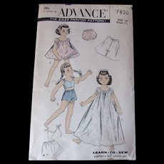"""Vintage Doll Clothing Pattern Advance for Size 14"""" and 7 1/2"""" Chest Learn to Sew Nightgown Shortie Set and Bloomers Uncut"""