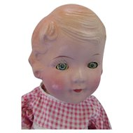 Little Girl Composition Doll Sleep Eyes Unmarked Body 1930 Style As Found