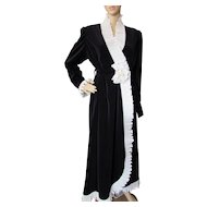 Georgette Trabolsi Black Velvet Robe with White Pleated Ruffle for Neiman Marcus Size Small