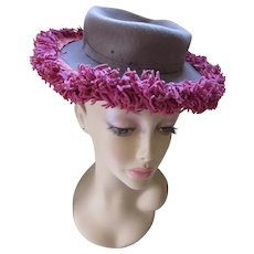 Sophisticated 1940 Era Topper Hat in Pewter Gray and Raspberry Chenille