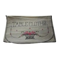 Embroidered Linen Table Cloth Cover Envelope Pink Flowers