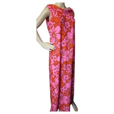 Tropical Long Gown Malihini Hawaii Designer Collection Neon Pink Orange and Rust 1970 Era Size 14